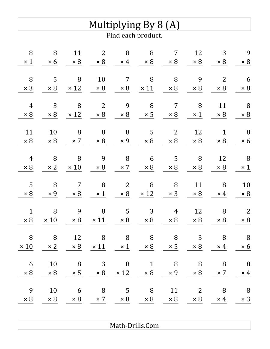Multiplication Worksheets By 8 1042815