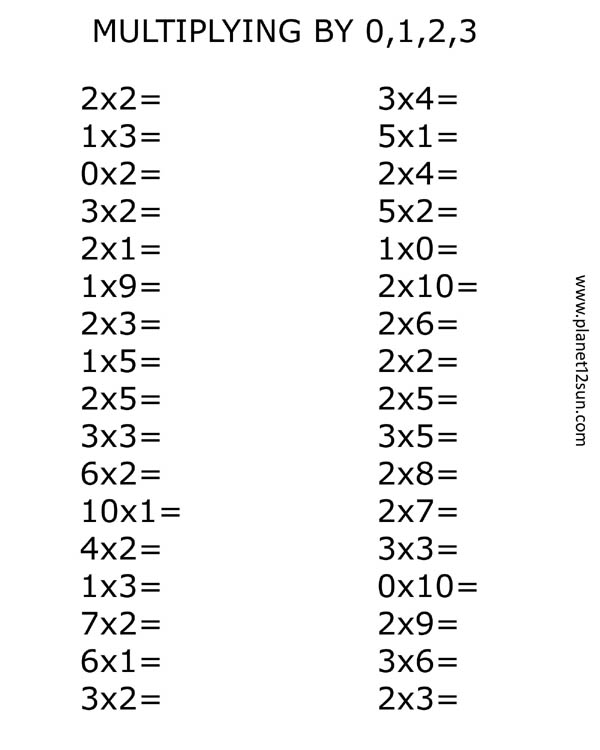 Multiplication Worksheets Facts 0 3  780117