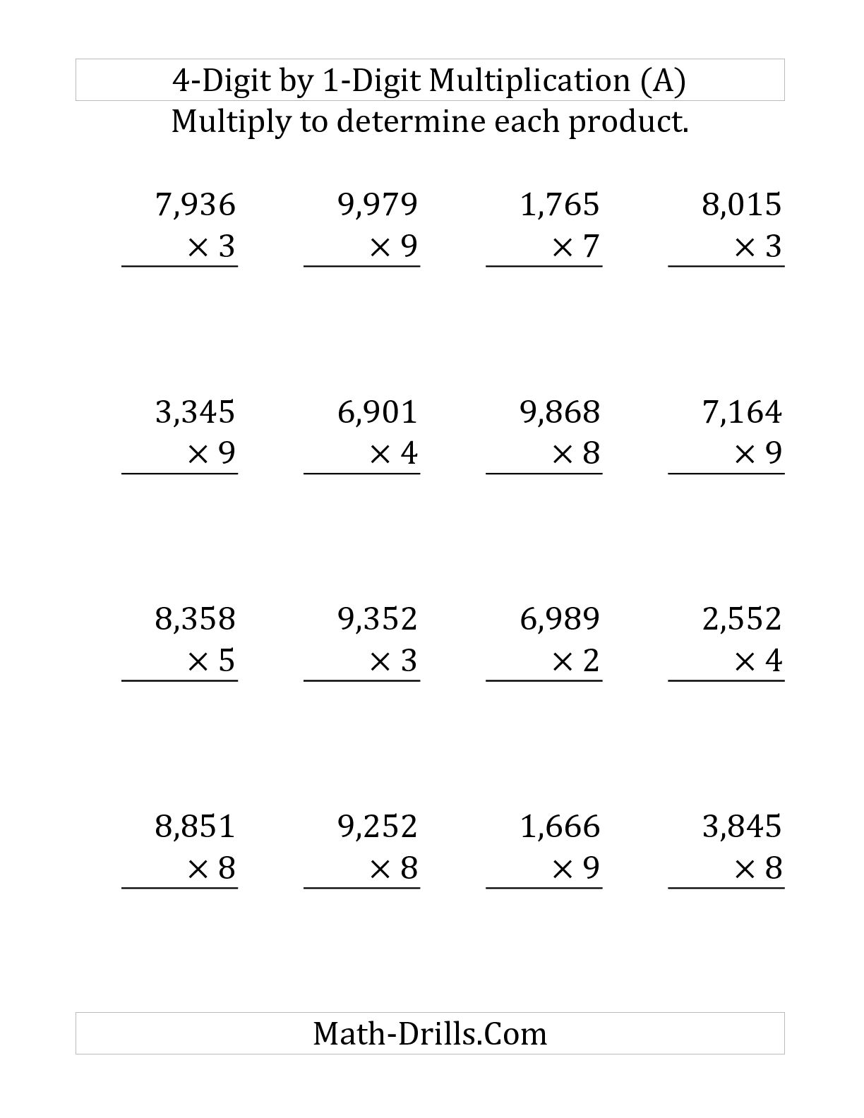 Multiplication Worksheets With 4 Digits 1096792