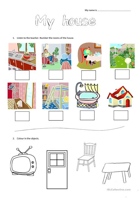 My House Worksheet For Young Learners  Worksheet