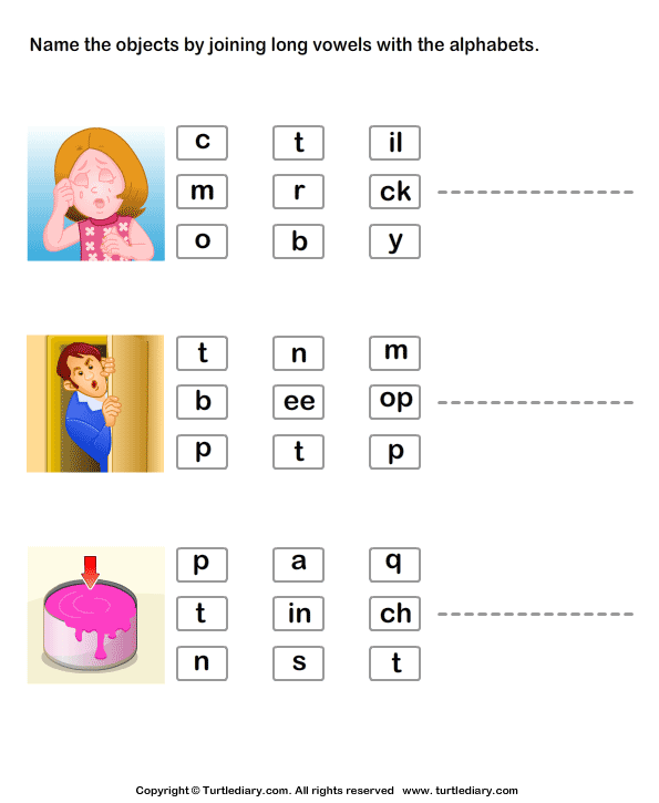 Name Objects By Joining Long Vowels With Alphabets Worksheet