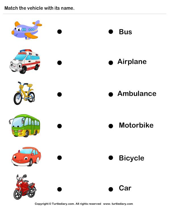 Names Of Vehicles Worksheet