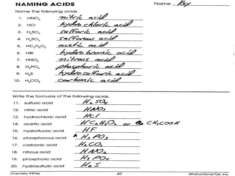 Naming Acids Worksheet  678391