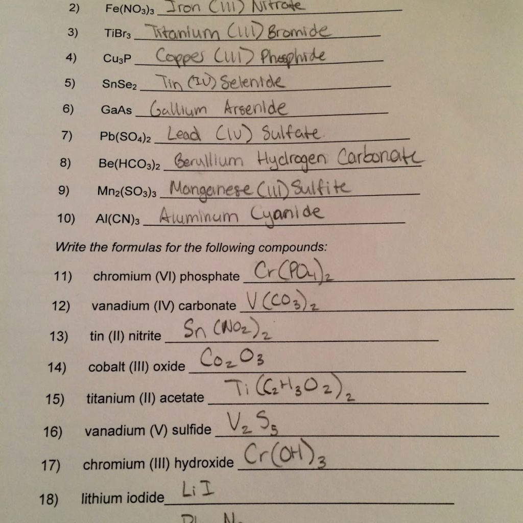 Naming Covalent Compounds Worksheet Answer Sheet  831236