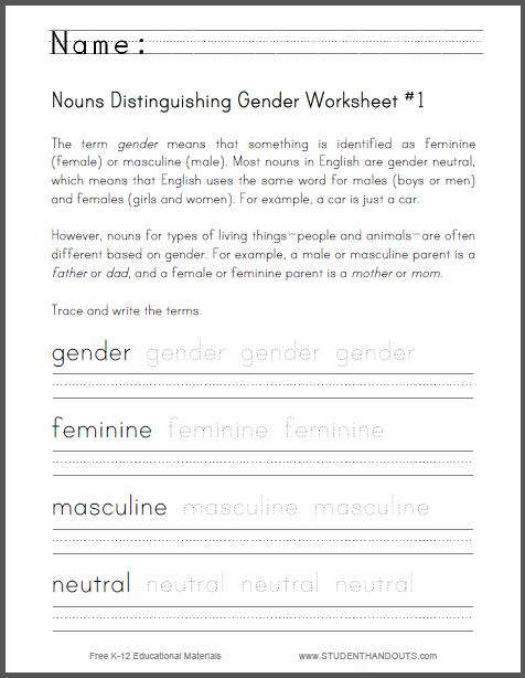 Nouns Distinguishing Gender Worksheet  1  Grade Three  Free To