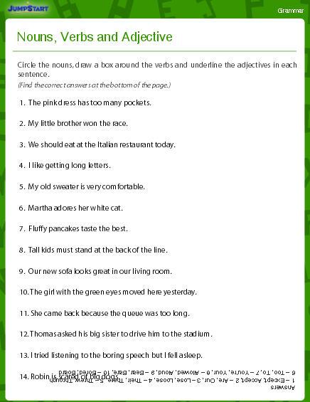 Nouns, Verbs And Adjectives Worksheet