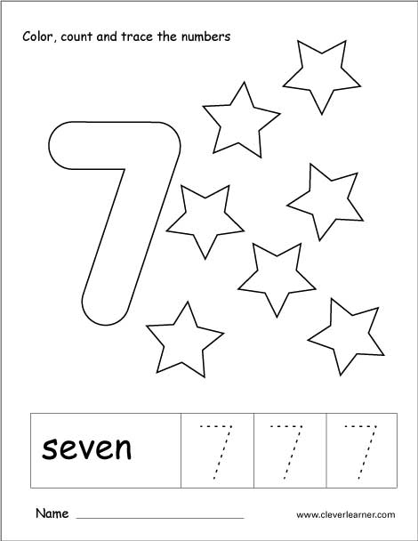 Number 7 Tracing Worksheets For Preschool  1084403