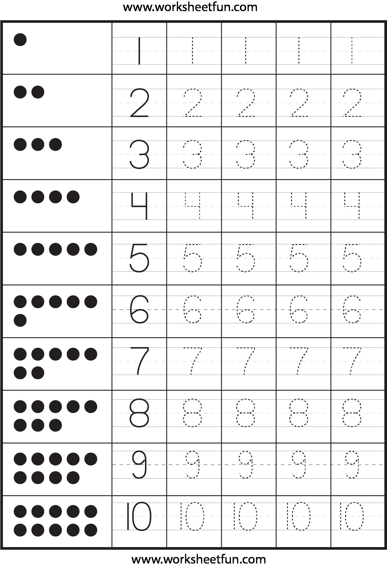 Number Tracing Worksheets For Kindergarten 819126