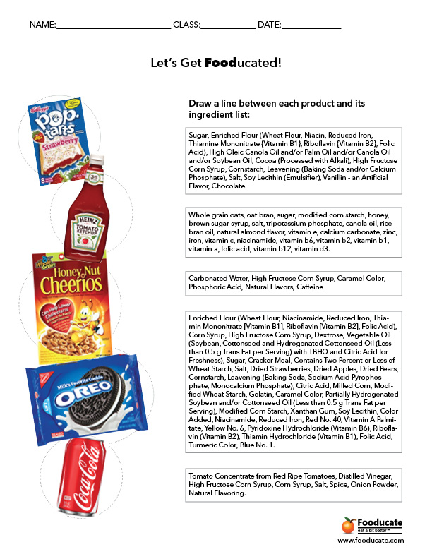 Nutrition Label Worksheet Nscsd Answers
