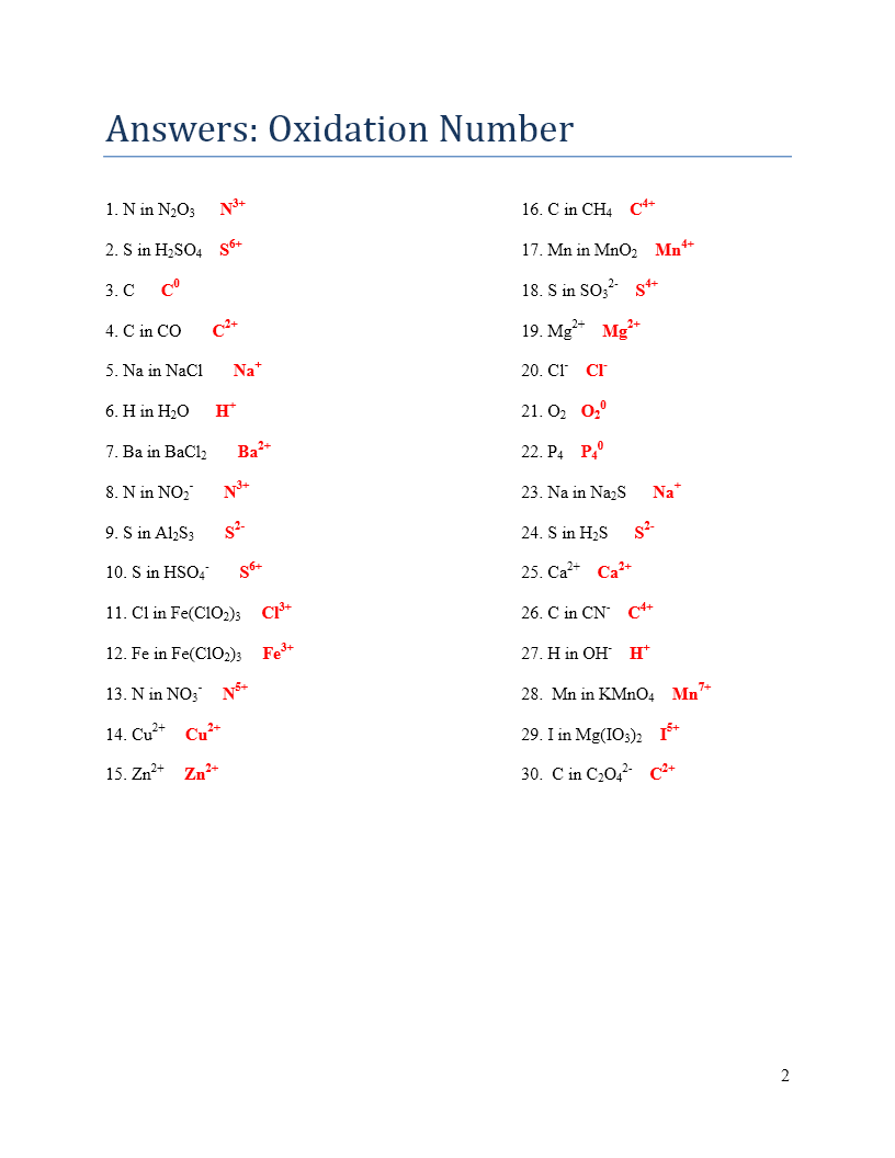 Oxidation Numbers And Redox Reactions Worksheet Answers  826764