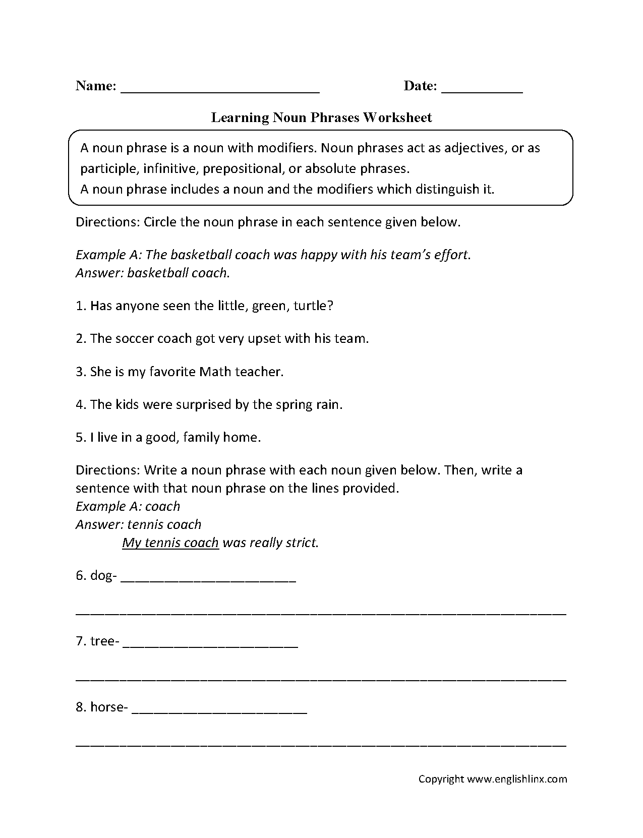 Participial Phrases Worksheet