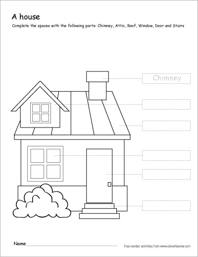 Parts Of A House Worksheets For Kindergarten