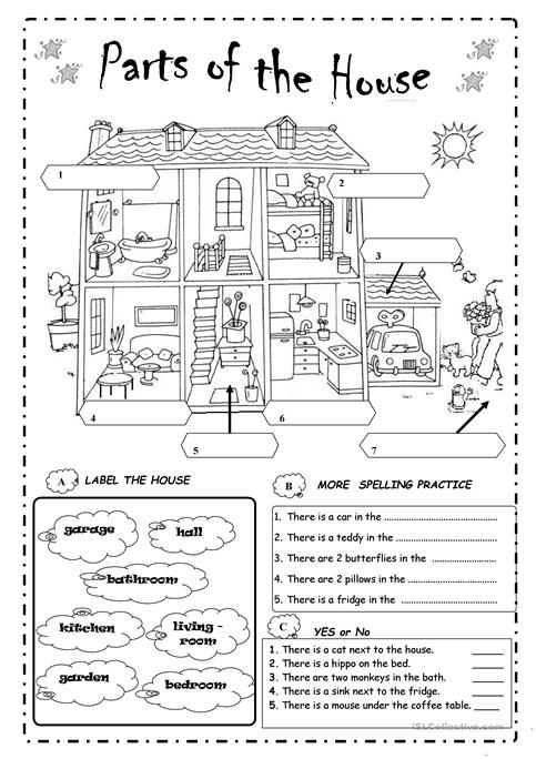 Parts Of A House Worksheets For Kindergarten  507794