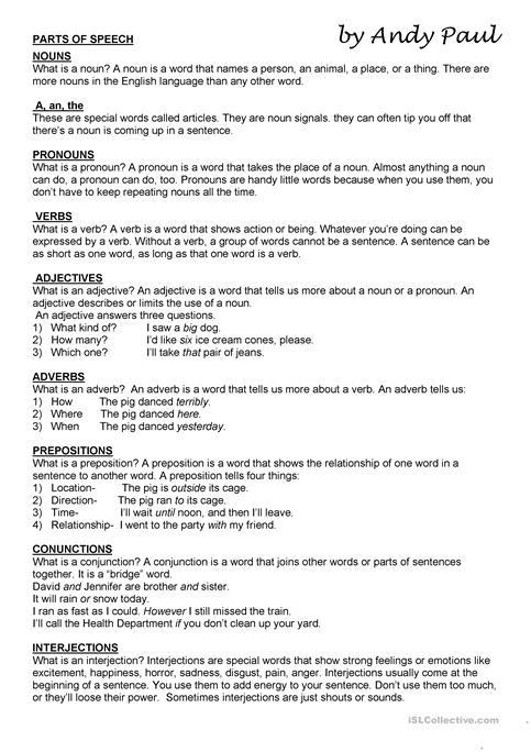 Parts Of Speech Worksheet
