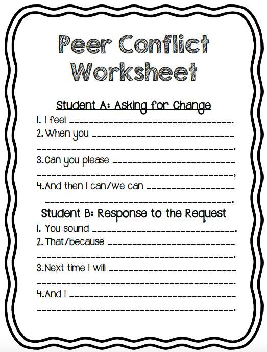 Peer Mediation Worksheet   Peer Conflict Worksheet! For Students