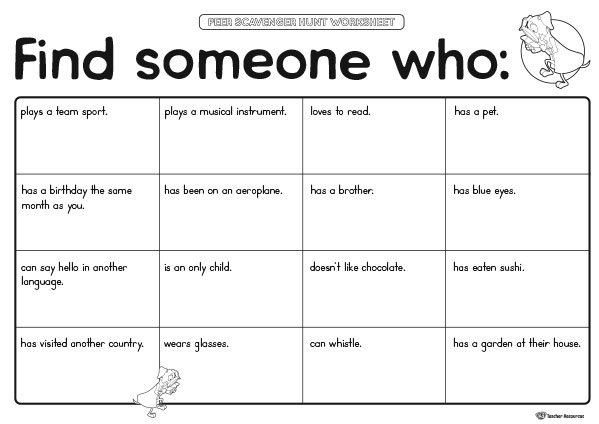 Peer Scavenger Hunt Worksheet
