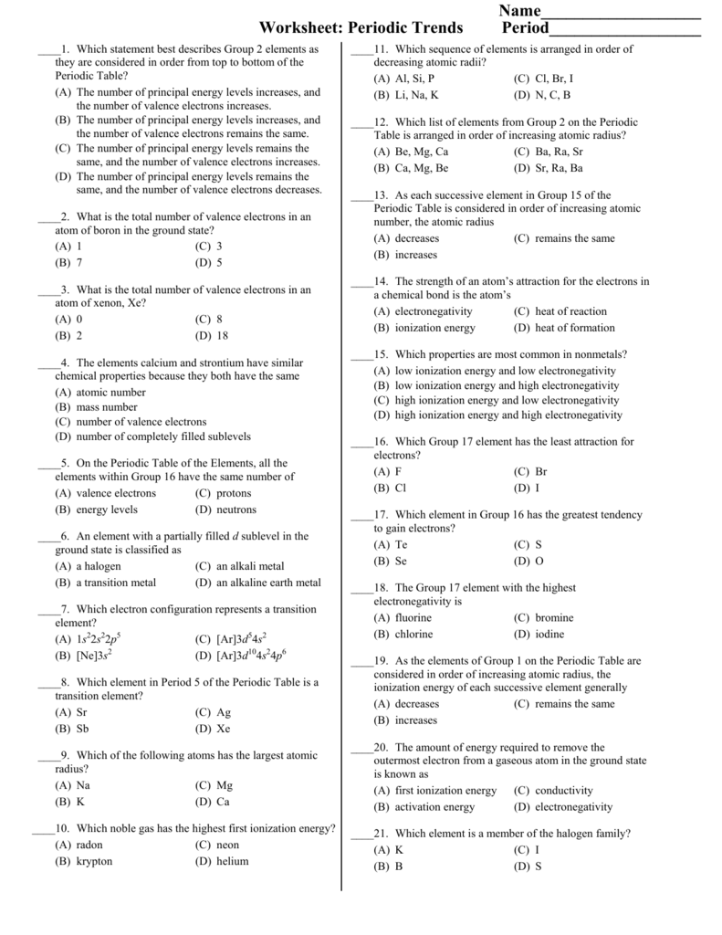 Periodic Table Quiz Pdf New Periodic Table Trends Worksheet Answer
