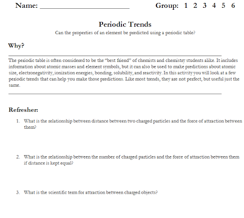 Periodic Table Trends Worksheet 42 Download Periodic Trends