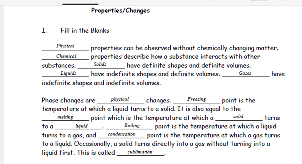 Physical And Chemical Changes Worksheet Precommunity Printables