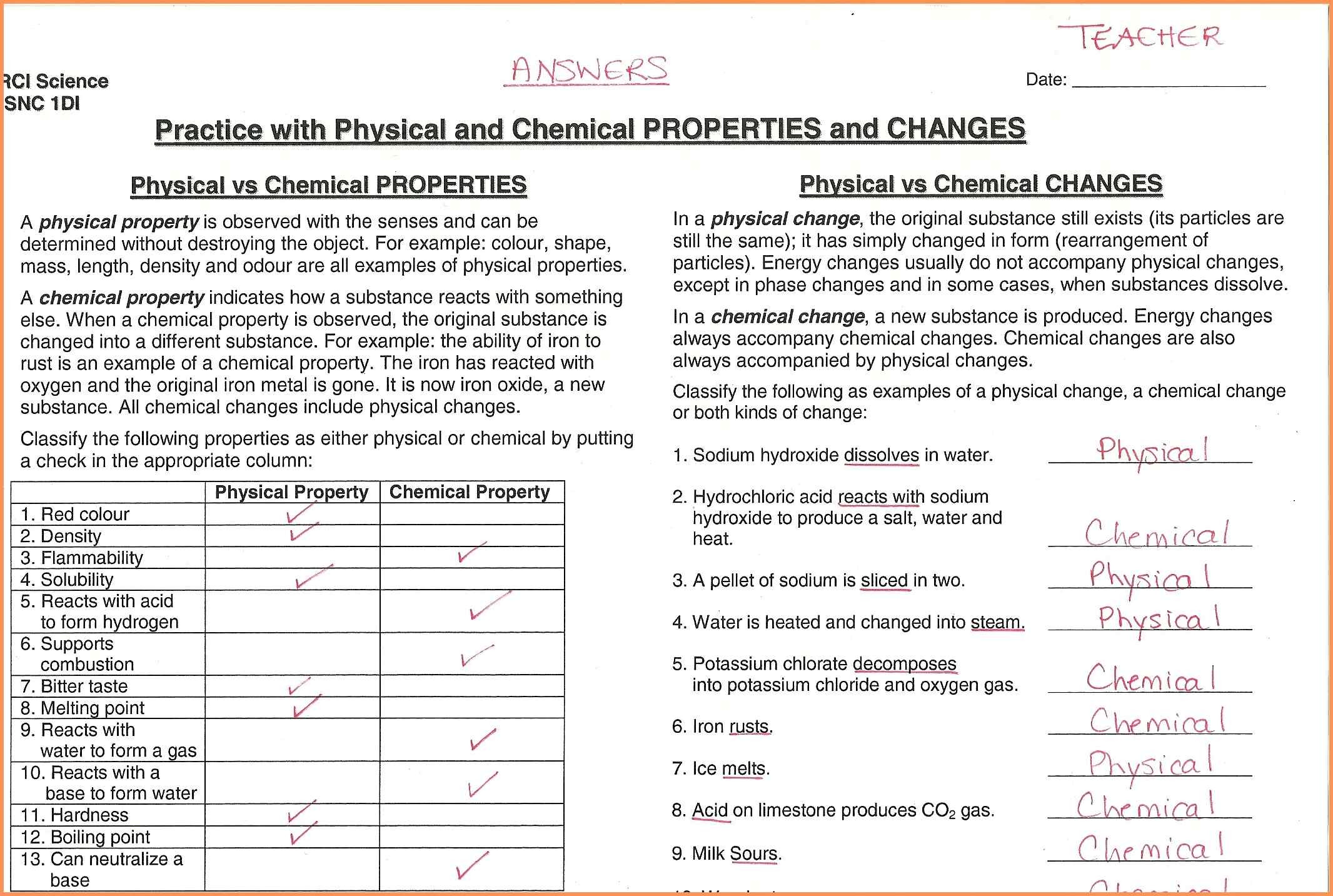 Physical And Chemical Properties Worksheet  769202