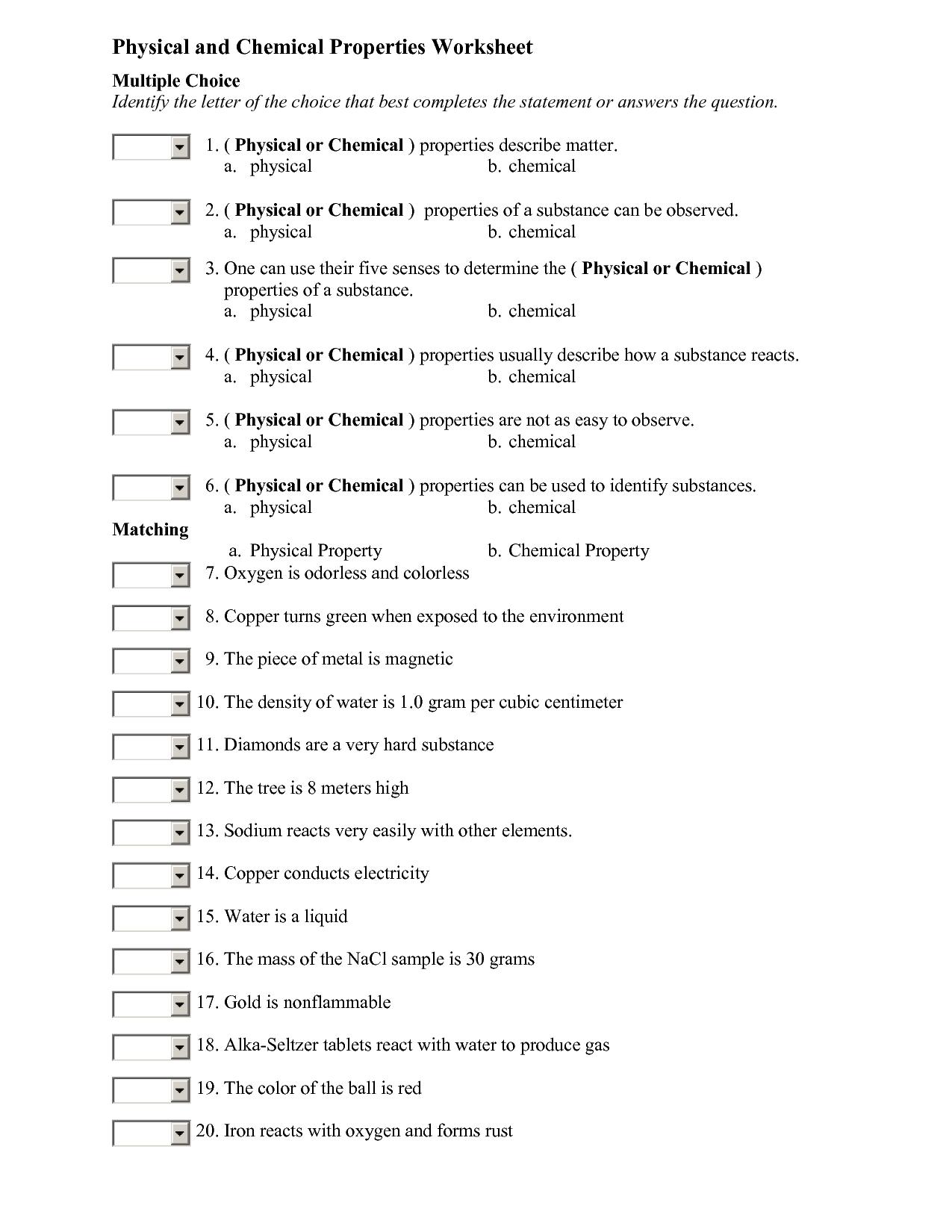 Physical Vs Chemical Change Worksheet