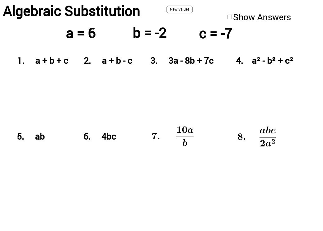 Physics Math Worksheet Algebra Substitution  1009622