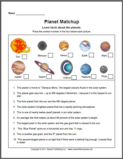Planets Worksheets For Kindergarten