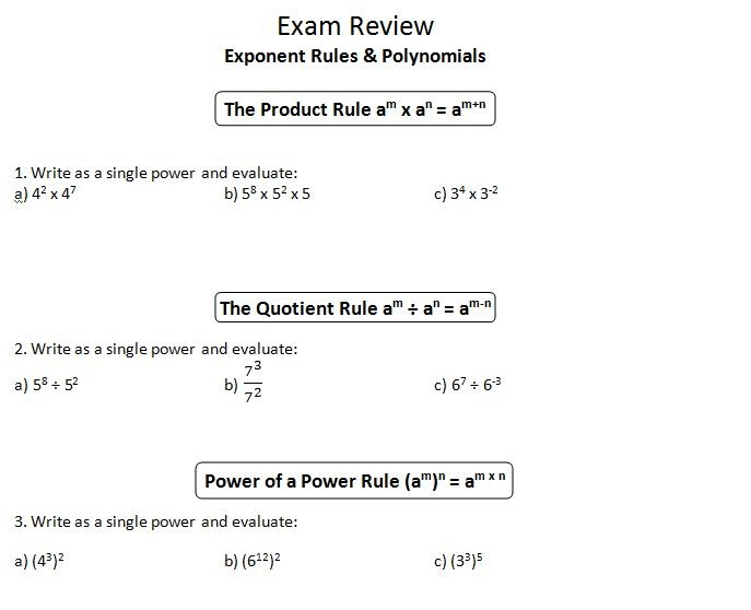 Powers Of Products And Quotients Worksheets Worksheets For All