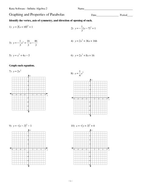 Practice Worksheet Graphing Quadratic Functions In Vertex Form