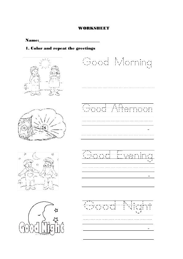 Preschool Greetings Worksheet 524958