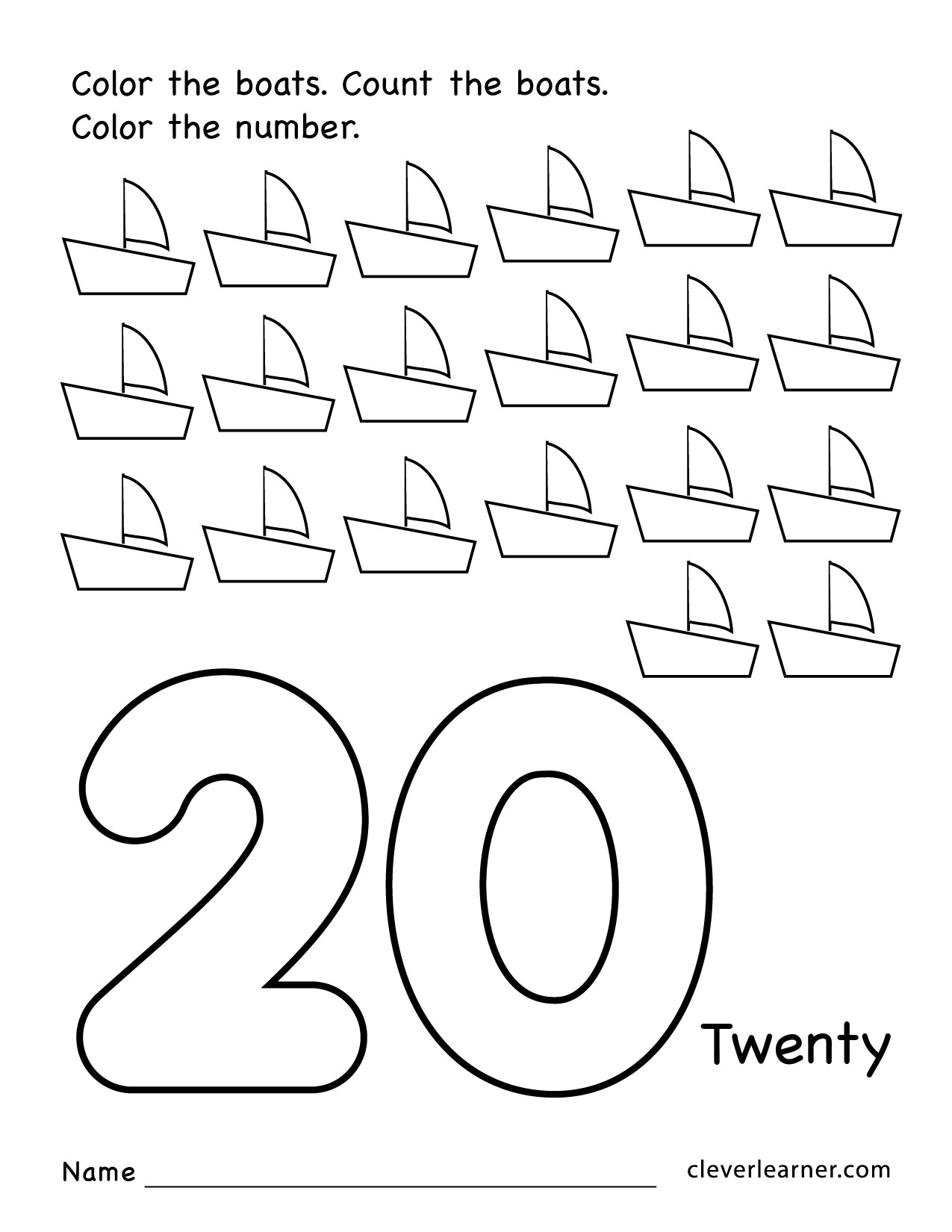 Preschool Number 20 Worksheets 261715