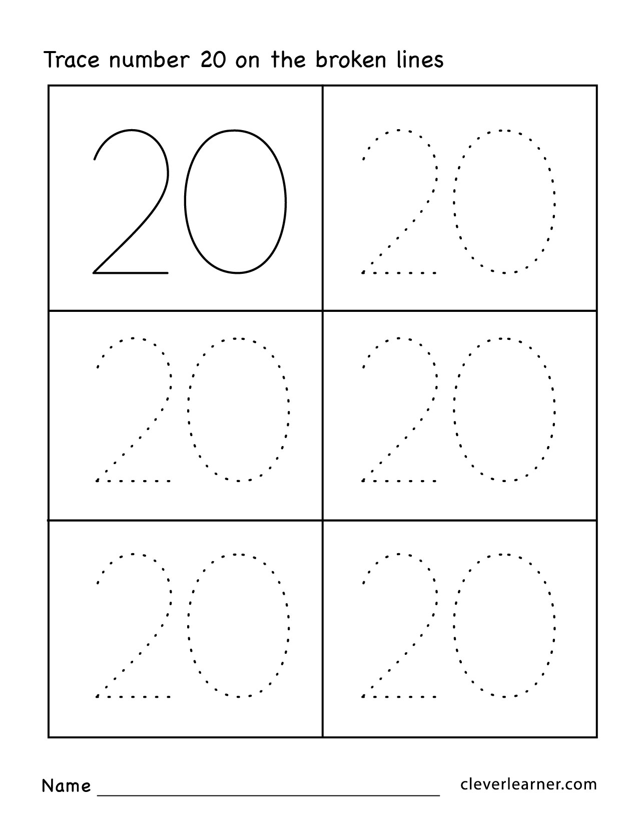 Preschool Number 20 Worksheets 261724