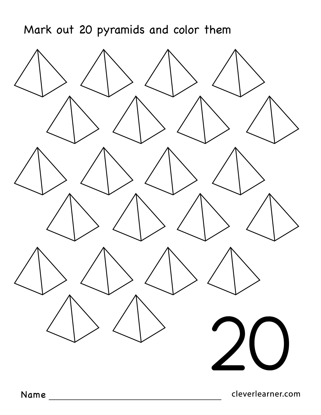 Preschool Number 20 Worksheets  261699