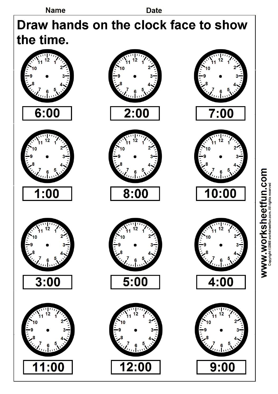 Preschool Telling Time Worksheets Free  853266