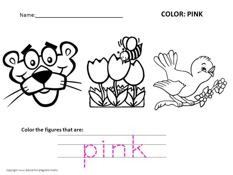 Preschool Worksheet Color Pink  35689