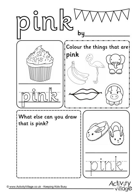 Preschool Worksheets Color Pink  302460