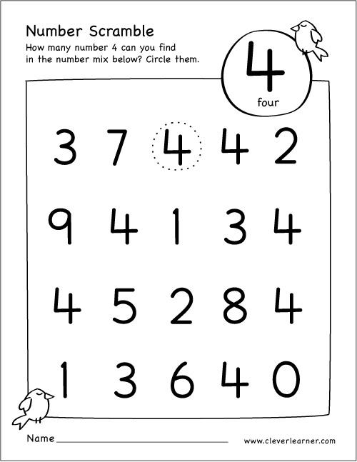 Preschool Worksheets For The Number 4