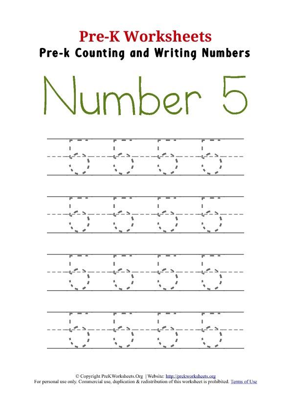Preschool Worksheets Number 5  1046558