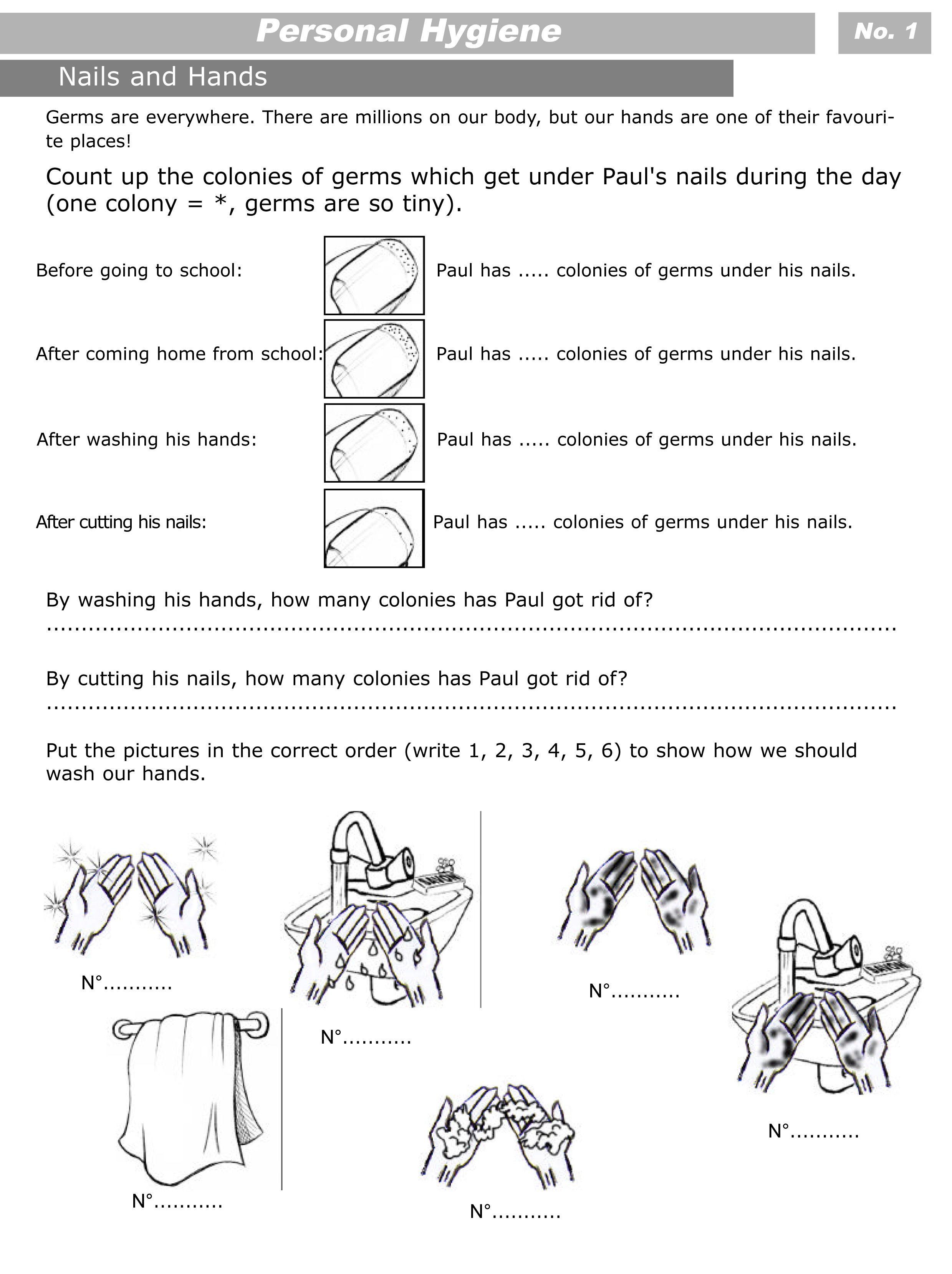 Preschool Worksheets On Hygiene  95857