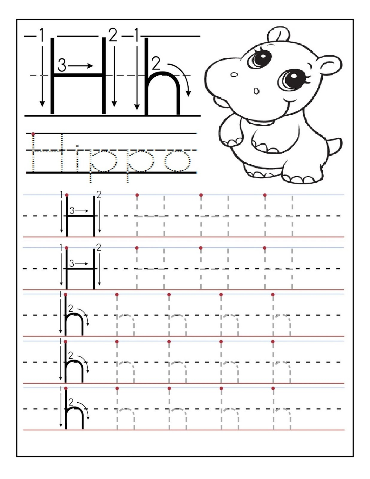 Printable Letter H Tracing Worksheets For Preschoolers, Alphabet