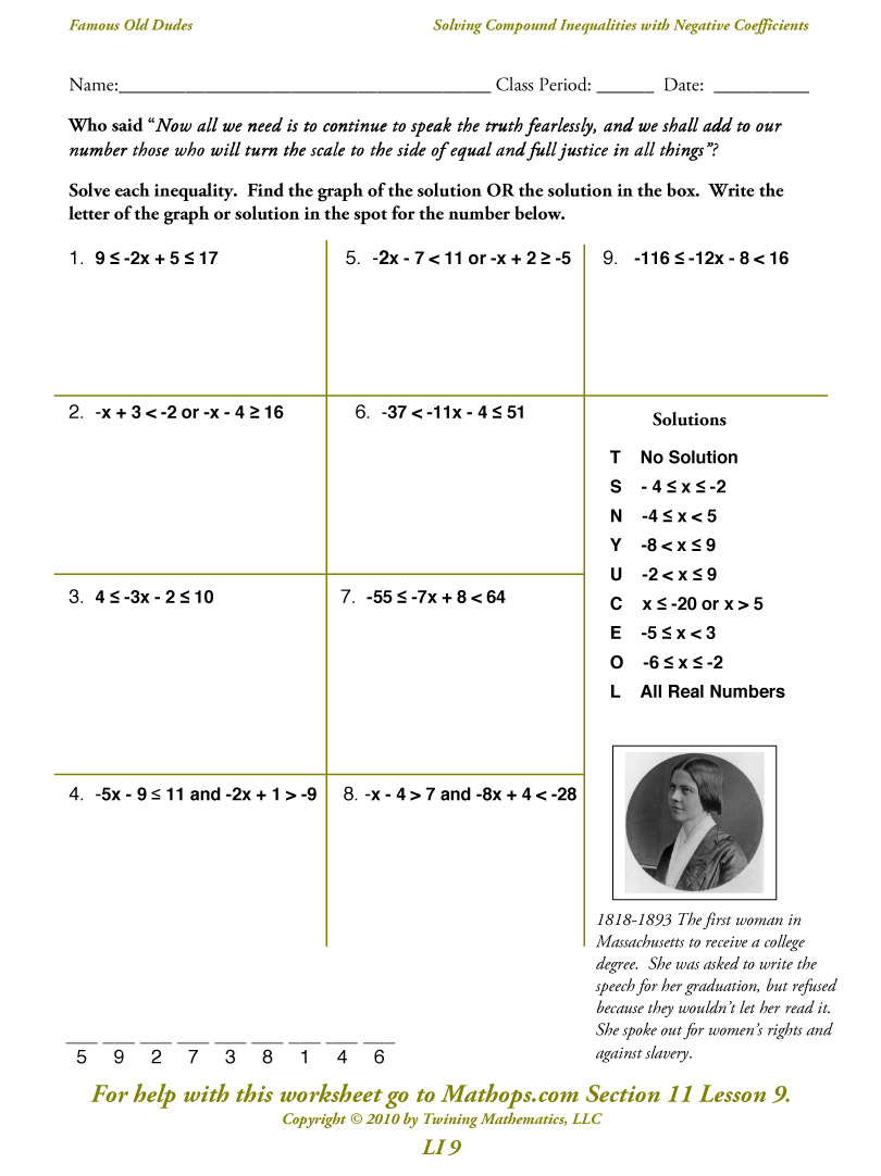 Printable Math Worksheets Solving Compound Inequalities 1331438