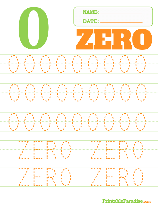 Printable Number 0 Tracing Worksheet