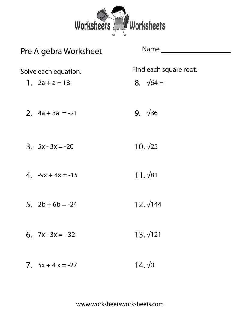 Printable Pre Algebra Worksheets  Algebra  Alistairtheoptimist