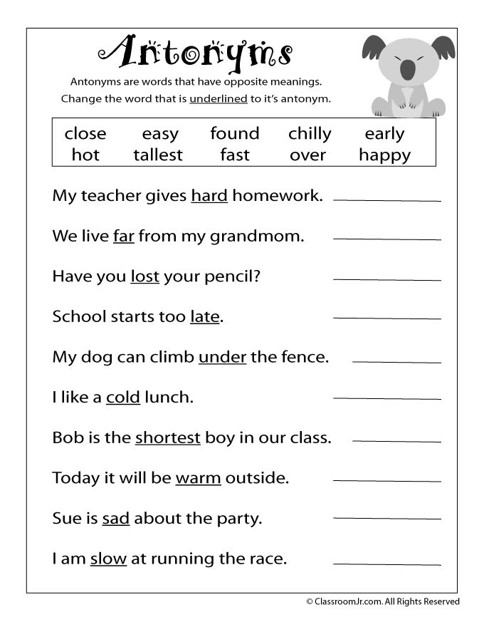 Printable Worksheets For 3rd Grade English 1126948