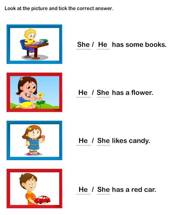Pronoun Worksheet Kindergarten
