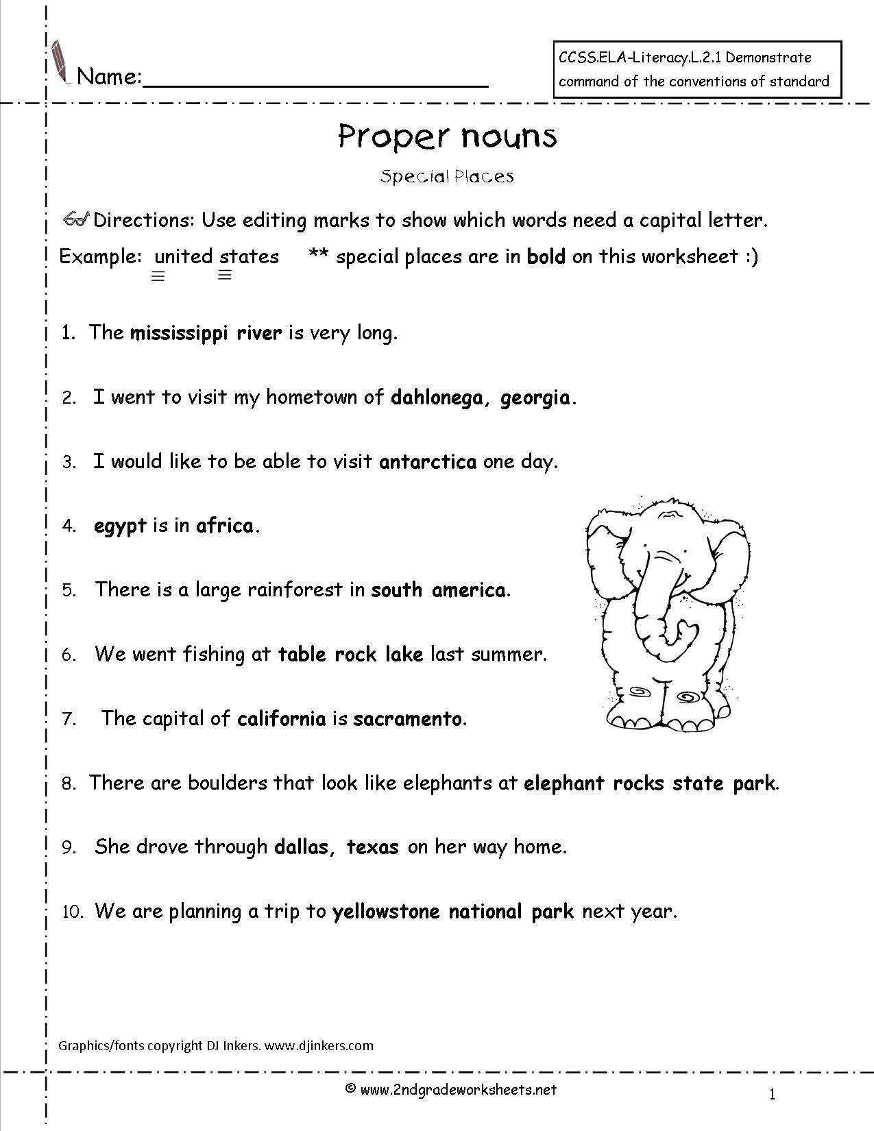 Proper Nouns Worksheet For 5th Grade