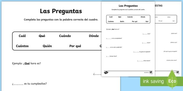 Question Words Worksheet   Activity Sheet