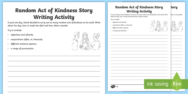 Random Acts Of Kindness Story Writing Differentiated Worksheet
