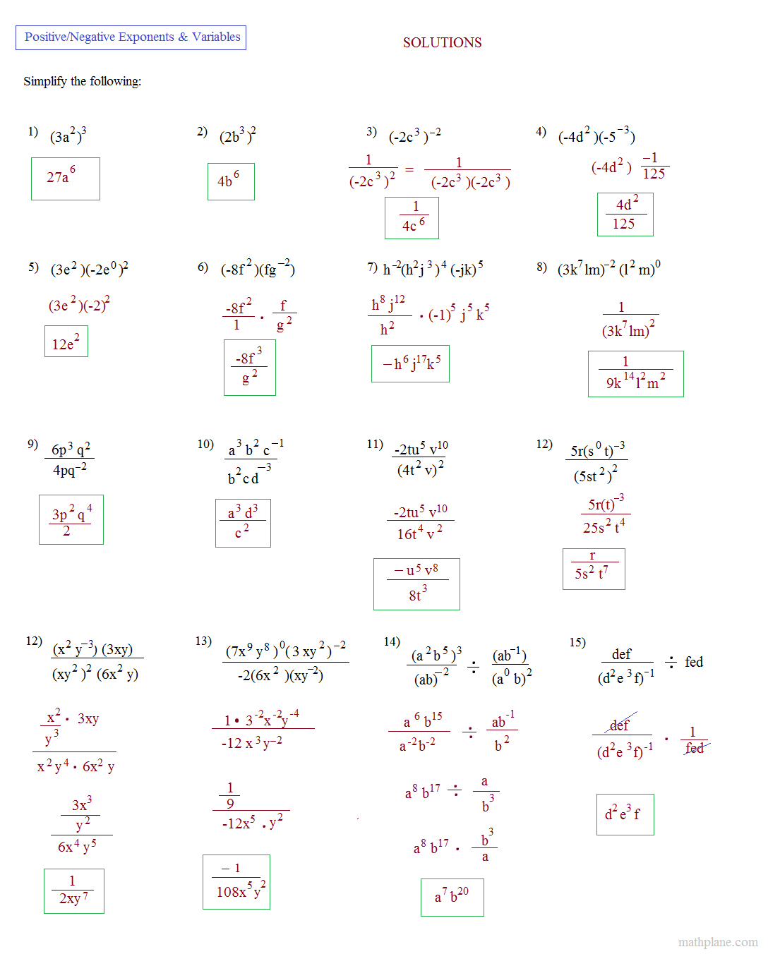 Rational Exponents With Variables Worksheet 108342
