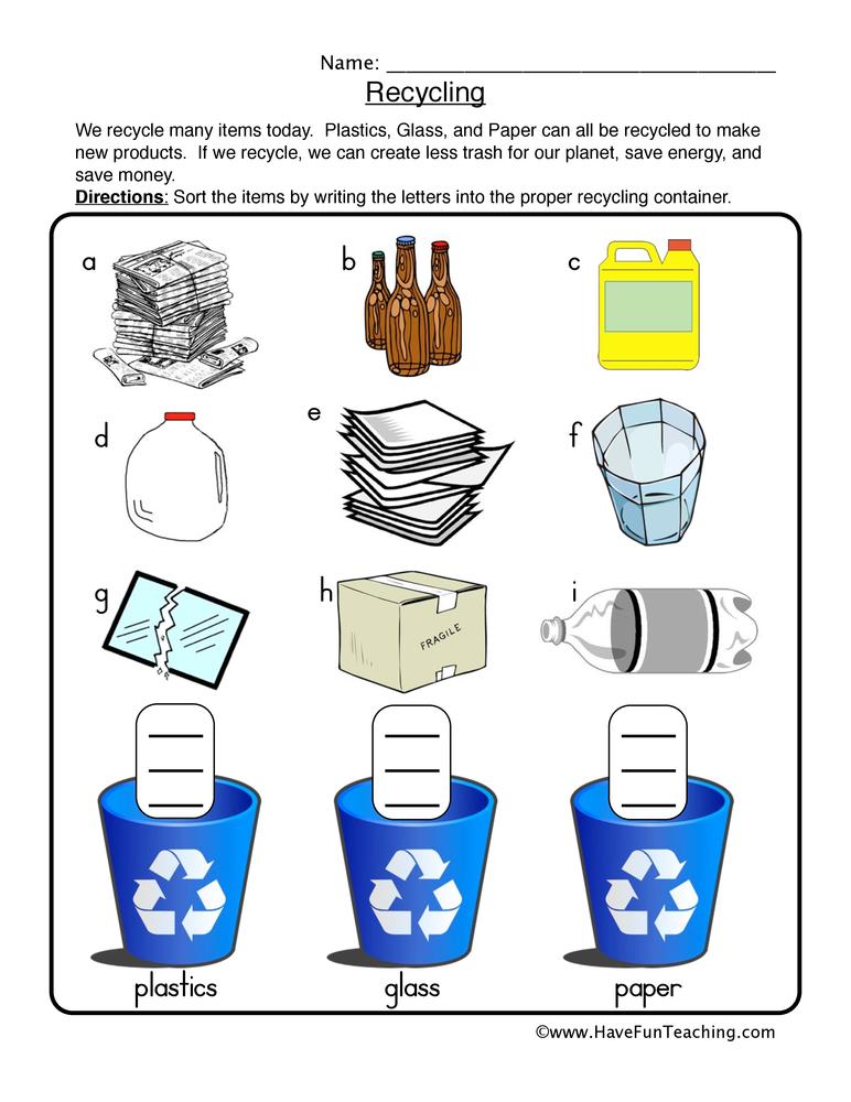 Recycling Worksheets For Kindergarten  790401